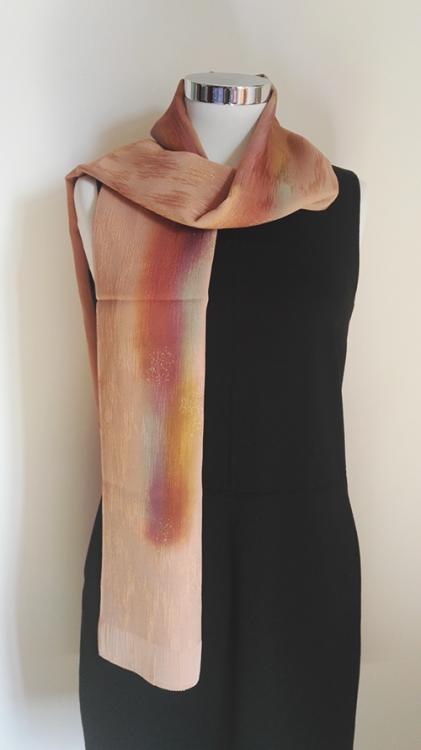 Shiny orange silk scarf