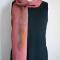 Shiny rosy red silk scarf