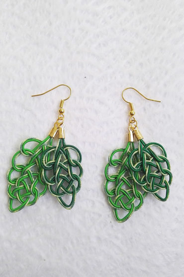 Mizuhiki-green-earrings