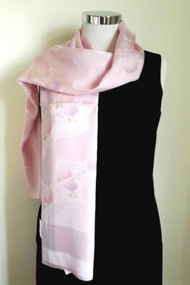 Kiku-Japanese-Silk-scarf-pink