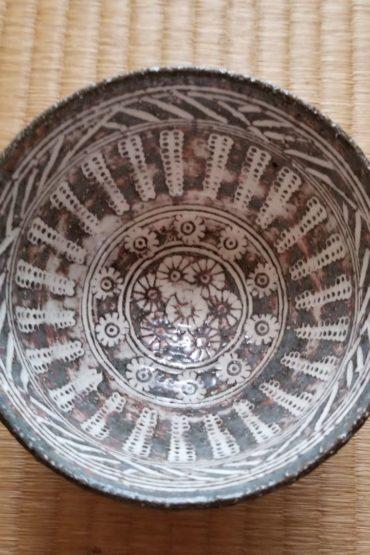 Vintage Japanese authentic Matcha bowl graved