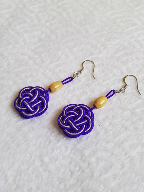 Mizuhiki-Purple-earrings-silver-hooks-2