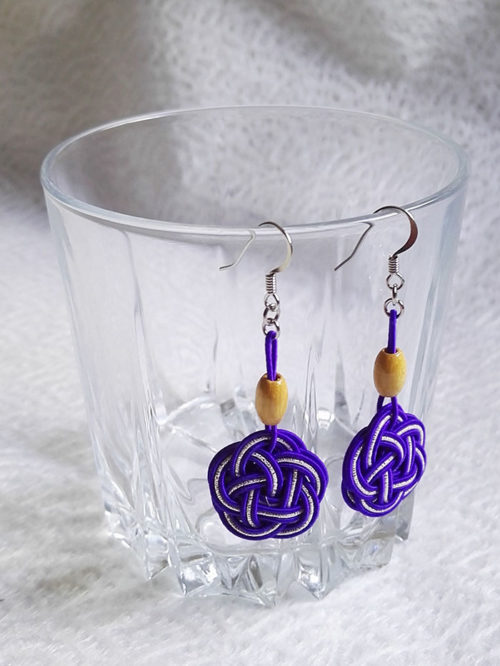 Mizuhiki-Purple-earrings-silver-hooks