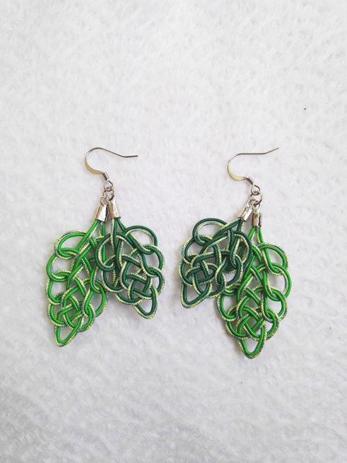 Mizuhiki-green-earrings-silver-hooks-2