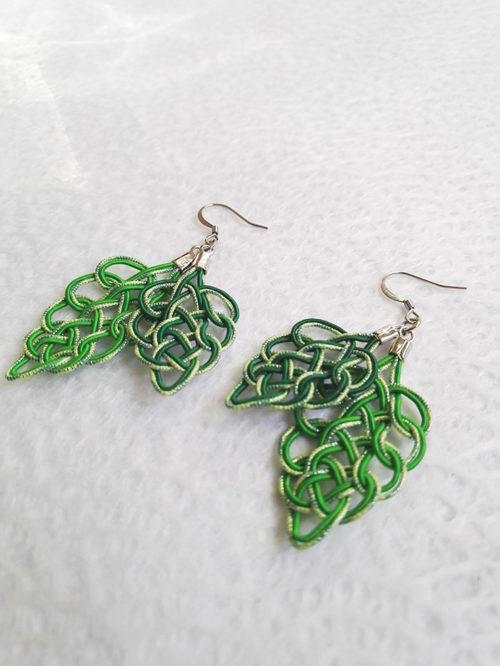 Mizuhiki-green-earrings-silver-hooks