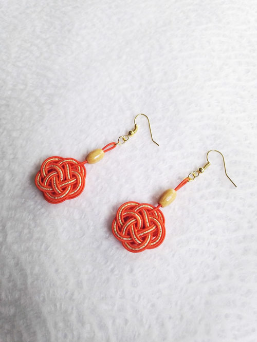 Mizuhiki-orange-earrings-gold-hooks-2