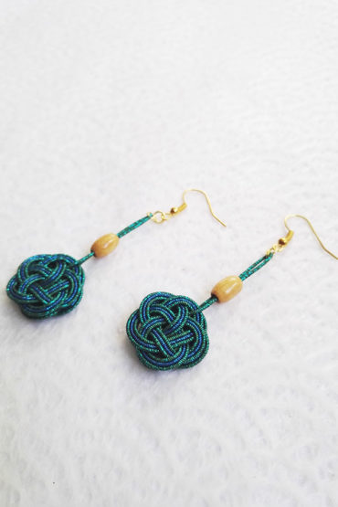 Mizuhiki-peacock-blue-earrings-gold-hooks