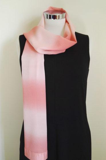 Pink gradation Japanese silk scarf 1