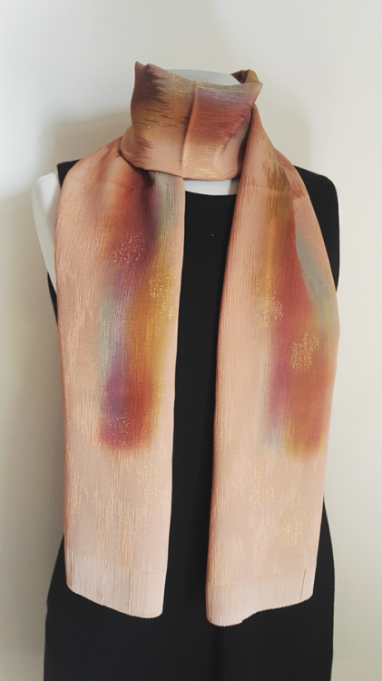 Shiny orange silk scarf