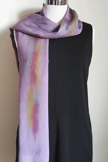 Shiny purple silk scarf