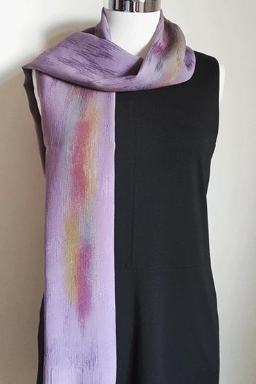 Shiny purple silk scarf