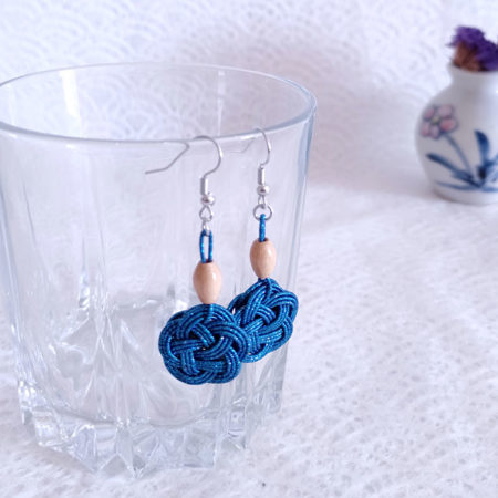 Mizuhiki Peocock Blue Earrings Silver hooks