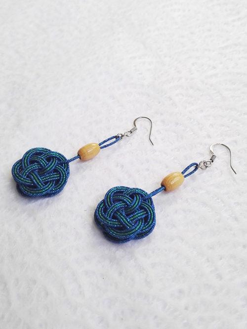 Mizuhiki-peacock-blue-earrings-silver-hooks-2
