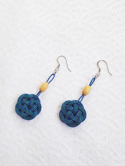 Mizuhiki-peacock-blue-earrings-silver-hooks-3