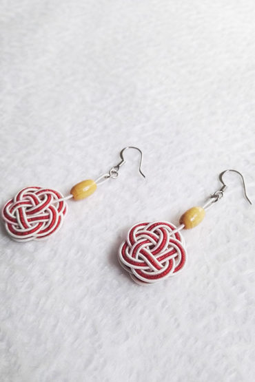 Mizuhiki-red-earrings-silver-hooks