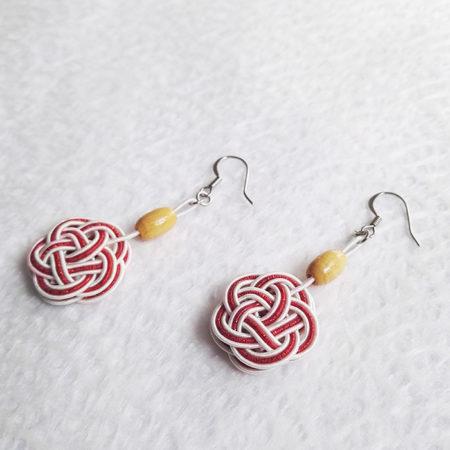 Mizuhiki-red-earrings-silver-hooks