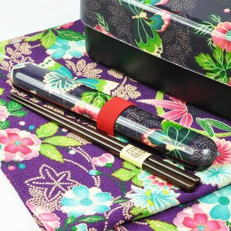 Kimono pattern chopsticks with a case