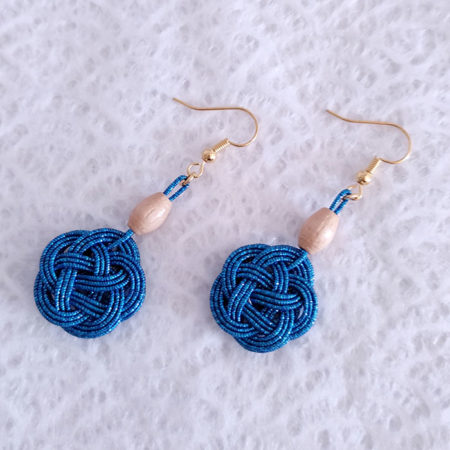 Mizuhiki-Peocock-Blue-Earrings-Gold-hooks