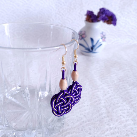 Mizuhiki Purple Earrings Gold hooks