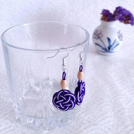Mizuhiki Purple Earrings Silver hooks