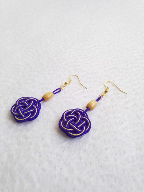 Mizuhiki-Purple-earrings-gold-hooks-2