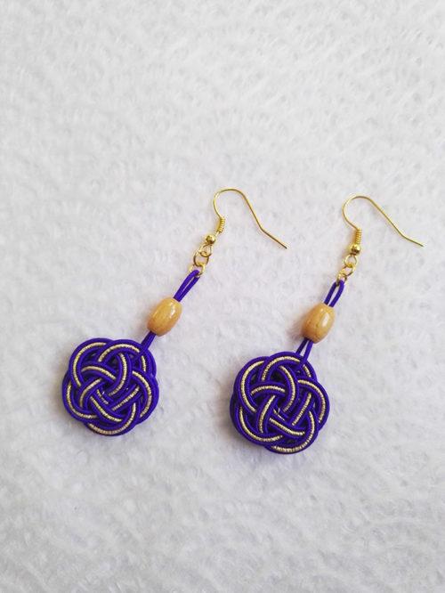 Mizuhiki-Purple-earrings-gold-hooks-3