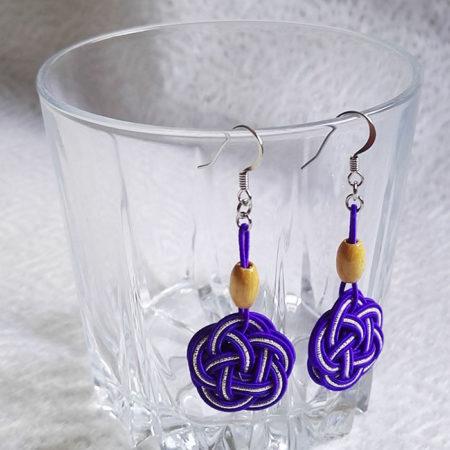 Mizuhiki-Purple-earrings-silver-hooks-3