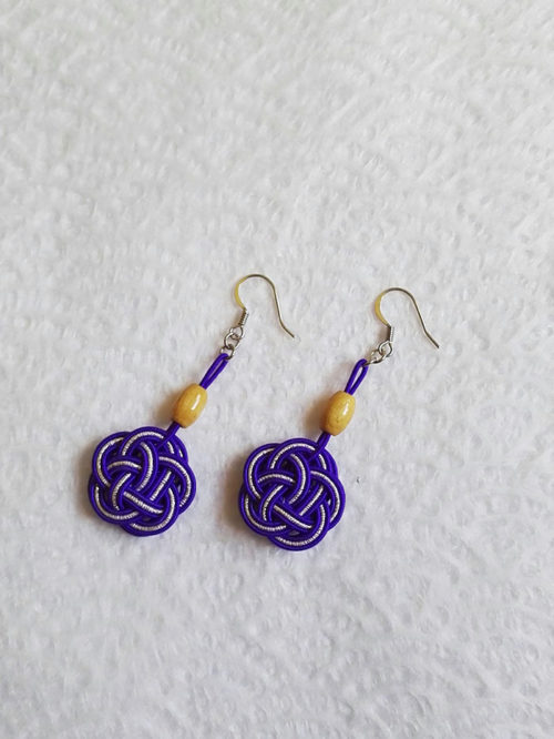 Mizuhiki-Purple-earrings-silver-hooks