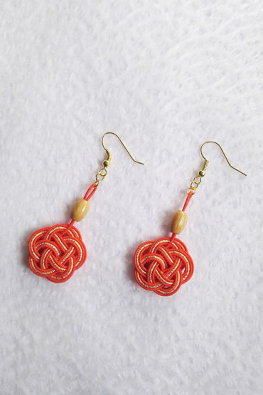 Mizuhiki-orange-earrings-gold-hooks