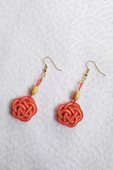 Mizuhiki-orange-earrings-gold-hooks