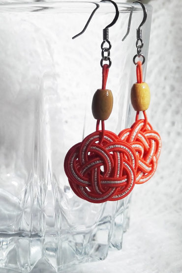 Mizuhiki-orange-earrings-silver-hooks