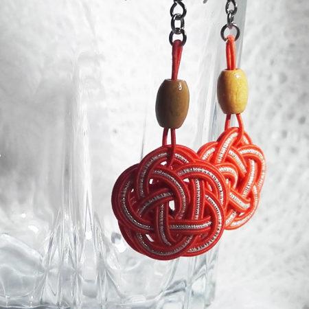 Mizuhiki-orange-earrings-silver-hooks