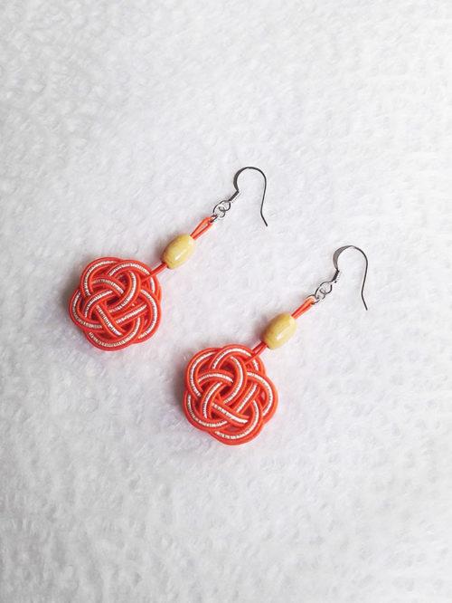 Mizuhiki-orangek-earrings-silver-hooks-2