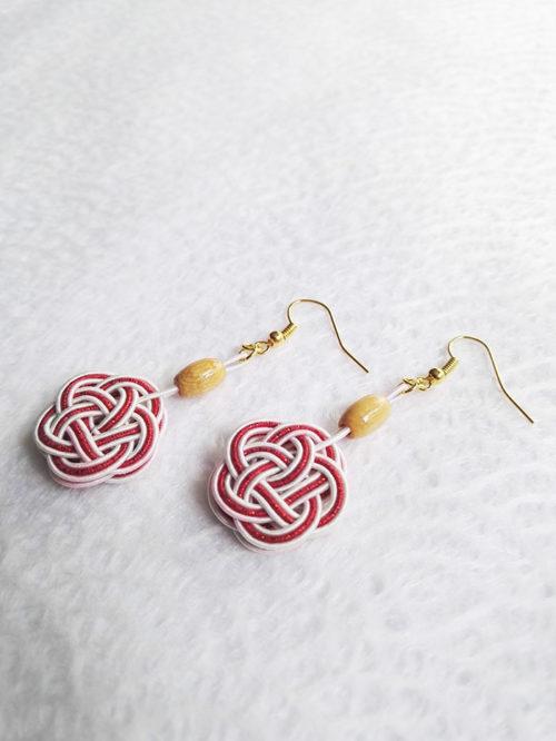Mizuhiki-red-earrings-gold-hooks-2