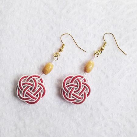 Mizuhiki-red-earrings-gold-hooks