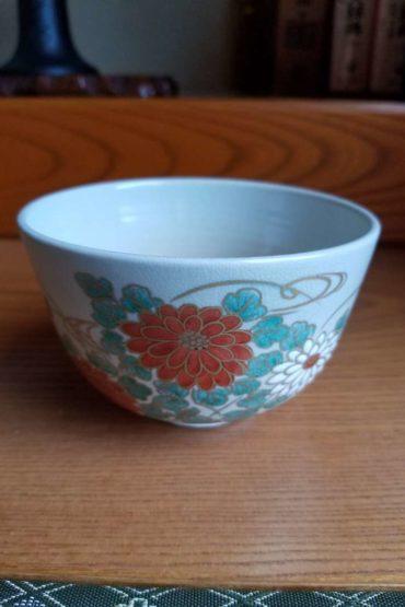 Japanese authentic matcha bowl kiku 1