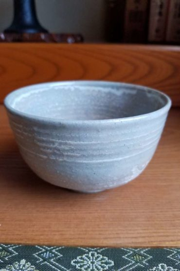 Vintage Japanese authentic matcha bowl beige gray 1