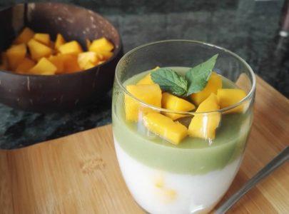 Vegan Matcha jelly with Mango