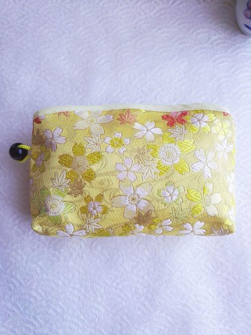 Kimono-pouch-yellow-Sakura-flowers