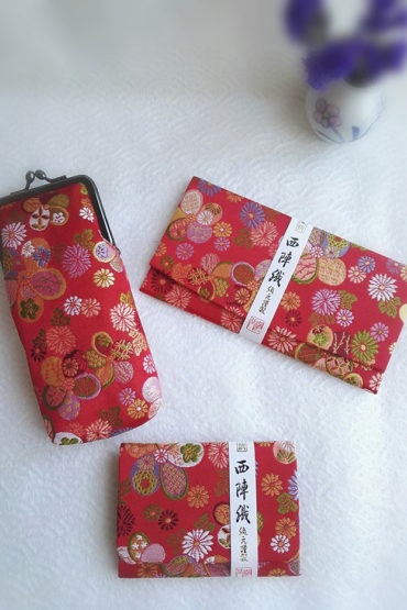 Kimono-wallet-(long),-glasses-case,-card-case-traditional-red