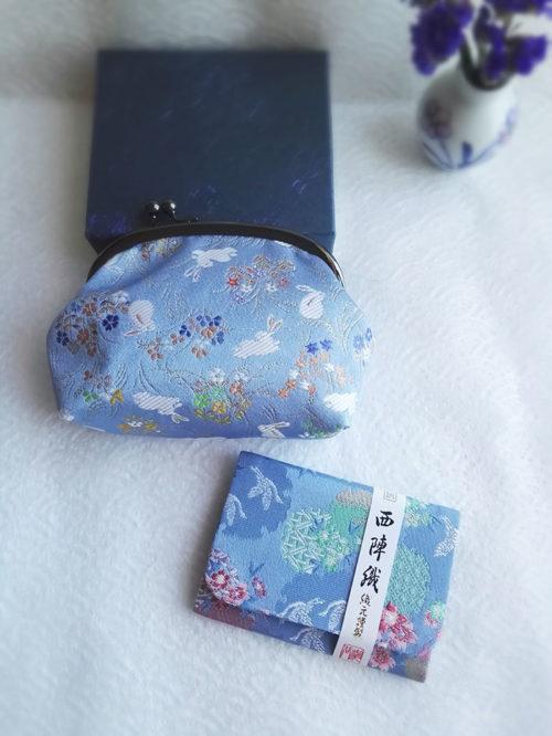 Kimono-wallet-pouch-blue-bunny-&-card-case-light-blue
