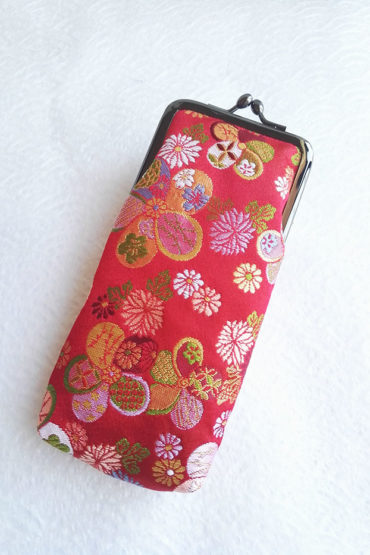 Nishijin-Glasses-case-Red-Traditional