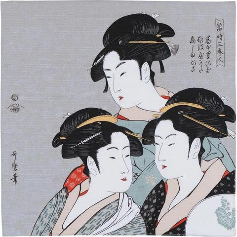 48cm Ukiyo-e Three Beauties Of The Present Day Gray 1