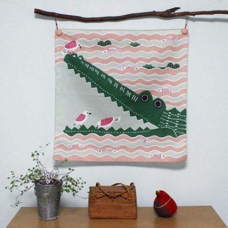 50cm Furoshiki Kata kata musubi Crocodile Pink