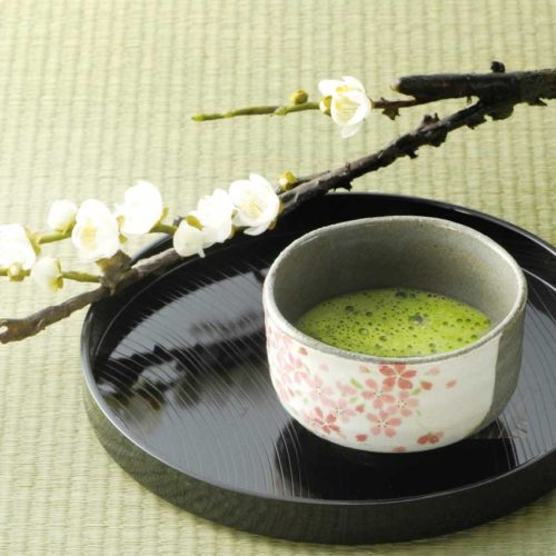 Japanese Authentic Matcha Bowl Grey Sakura 2
