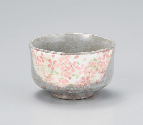 Japanese Authentic Matcha Bowl Grey Sakura