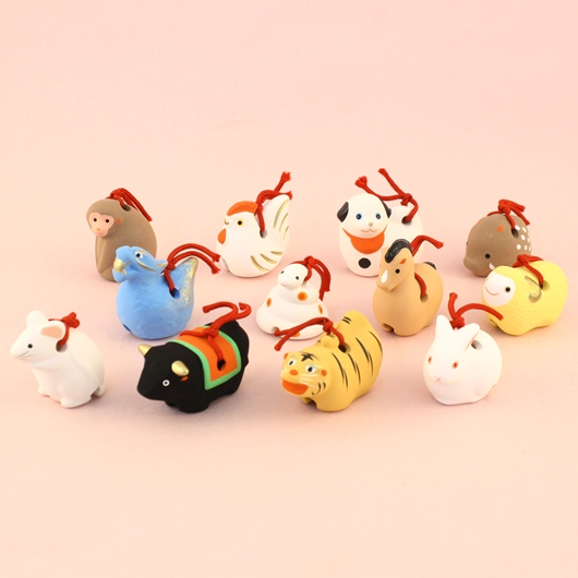 Japanese zodiac sign pottery bell