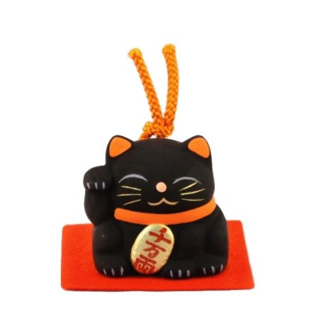 Maneki-neko unglazed ceremics bell black 2