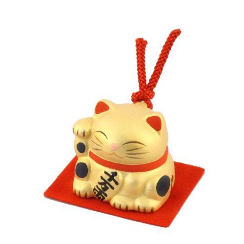 Maneki-neko unglazed ceremics bell gold 1