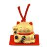 Maneki-neko unglazed ceremics bell gold 2